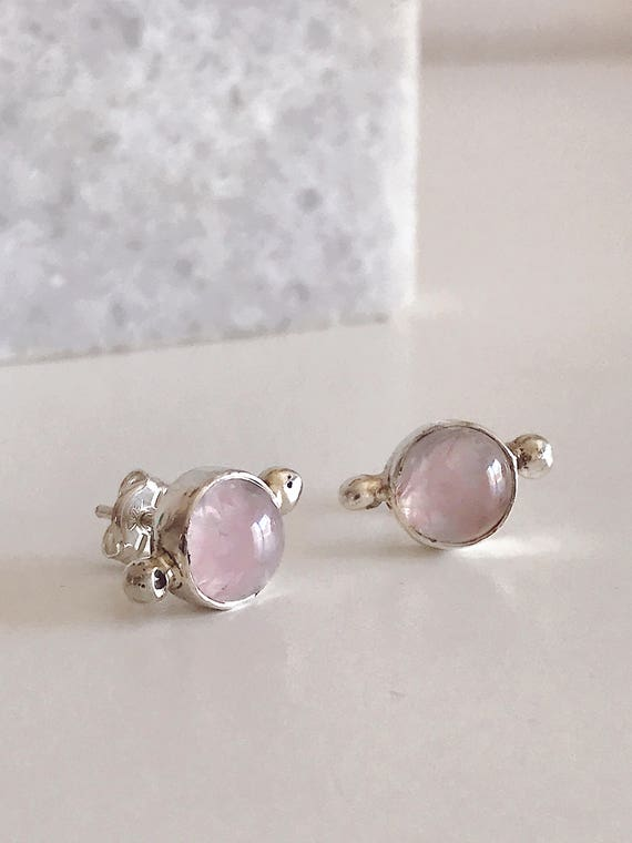 Rose quartz earrings,rose crystal earrings,small studs earrings,Sterling silver earrings,pink crystal earrings,tiny silver earrings