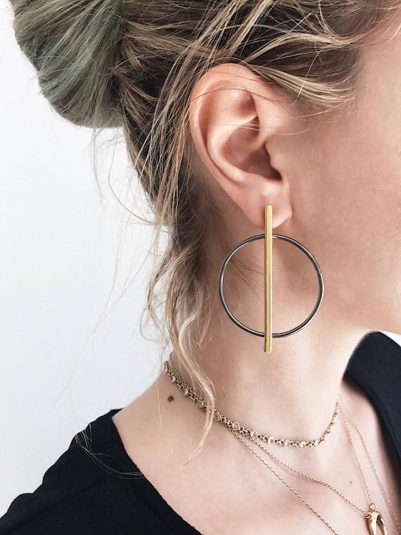 Big earrings,sterling silver earrings,gold earrings,hoops earrings,geometric earrings,circle earrings,bar earrings,black earrings,minimal