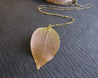 Featured In JEWELRY AFFAIRE MAGAZINE, 14k Gold Leaf Necklace, Natural Leaf Jewelry, Skeleton Leaf Jewelry, Layer & Long Woodland Necklaces