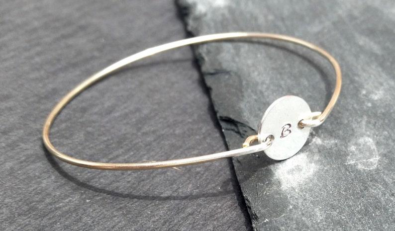 Monogram Bracelet Gold or Silver Hand Stamped bracelet Personalized Bracelet Personalized Initial Bangle Bracelet Engraved Bangle