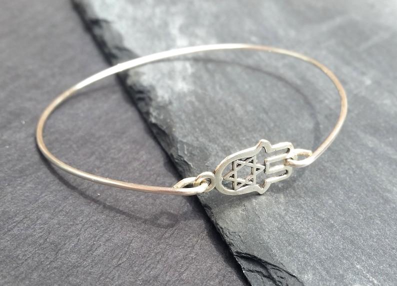 Hamsa Hand Yoga Bracelet 925 Sterling Silver Hamsa Bangle Bracelet Sterling Silver Star of David Bangle Bracelet Hand of Fatima