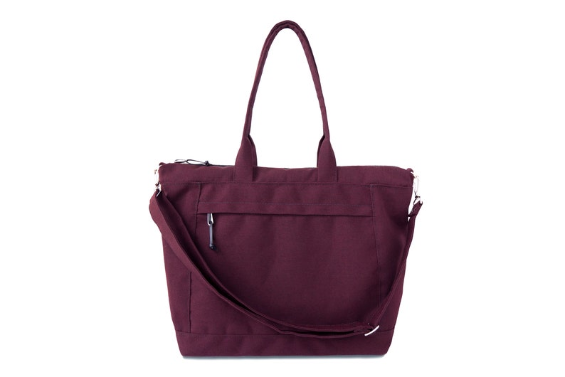 5788ca8701 Burgundy Canvas Travel Tote Water Resistant Large Tote with