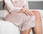 Blush Satin Robe, Pink Lace Robe, Bridesmaids Robe, Pink Bridal Robe, Pink Lace Robe