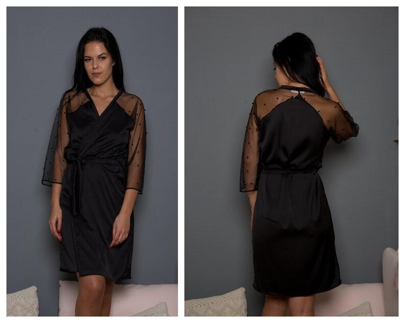 23138e368b81 Raso nero robe   Long kimono nero   lungo pizzo Accappatoio