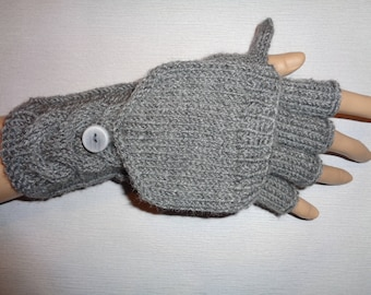 Hand-knitted grey color convertible fingerless gloves to mittens, Gloves & Mittens, Gift Ideas, Grey gloves, Christmas gift, Arm warmers