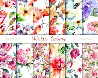 Watercolor Floral 12 Sheet Assortment Pack Downloadable Digital Printable Paper Scrapbook Origami Crafts Baby Bridal Showers Cards