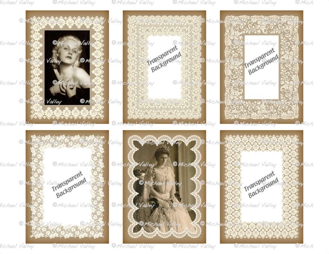 Encaje antiguo digital foto marcos PNG transparente insertar | Etsy
