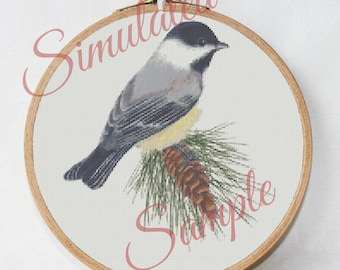 Maine State Bird Chickadee and White Pine Cone Flower Digital Small Scale Counted Cross Stitch Embroidery Pattern PDF Download