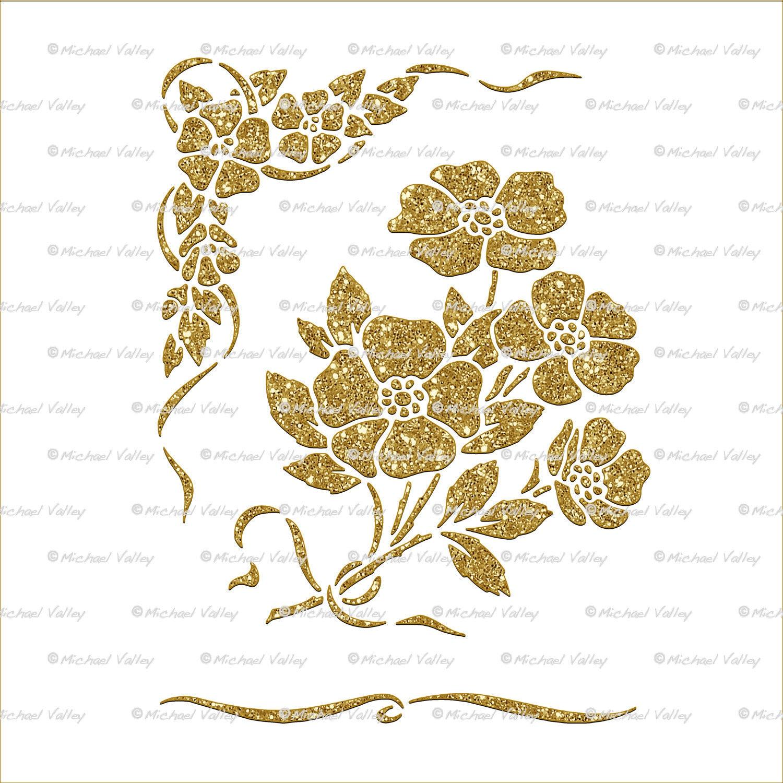 Crushed Gold Glitter Look Art Deco Floral Digital Printable | Etsy