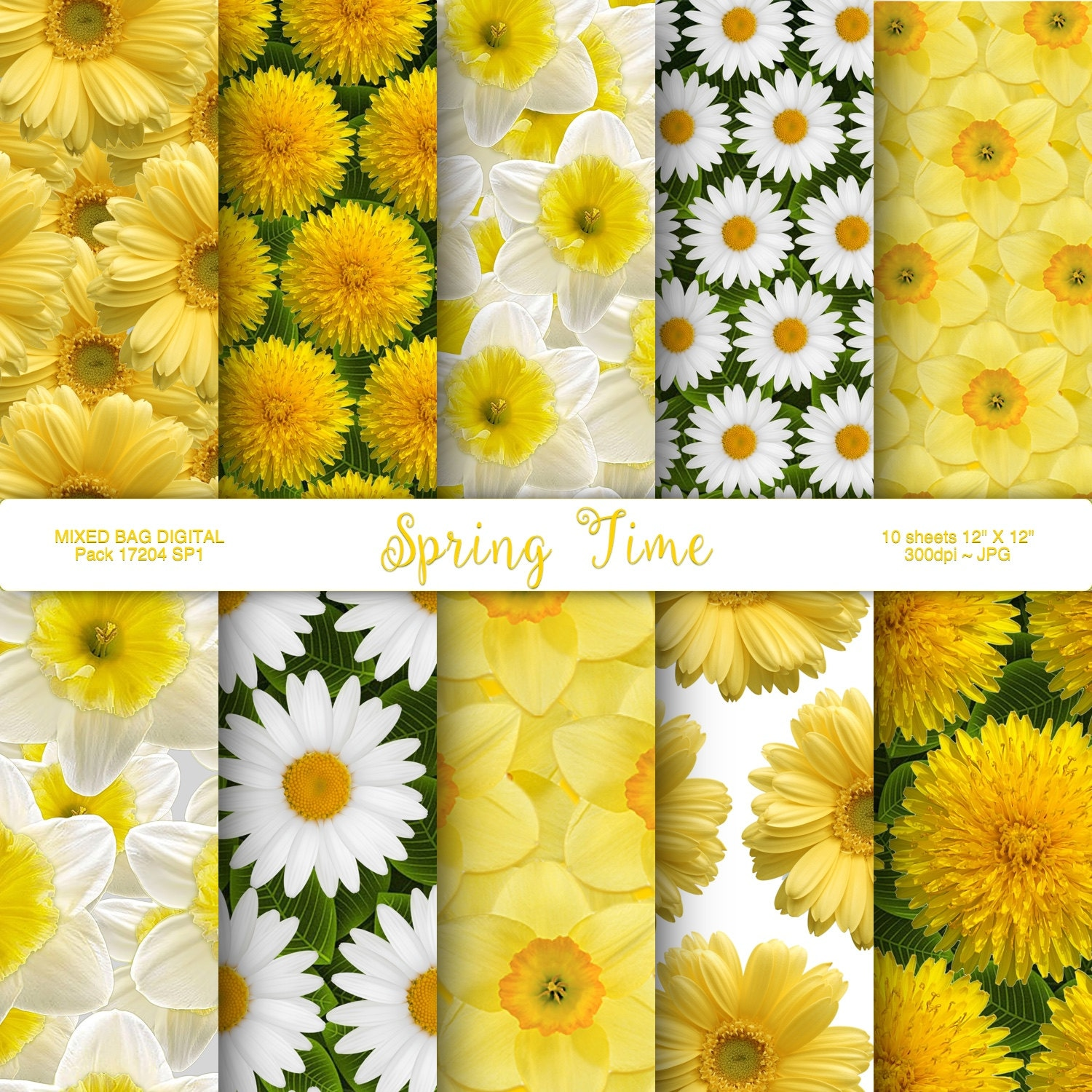 Spring Easter Flowers 10 Sheet Assortment Dandelions Daisies Etsy