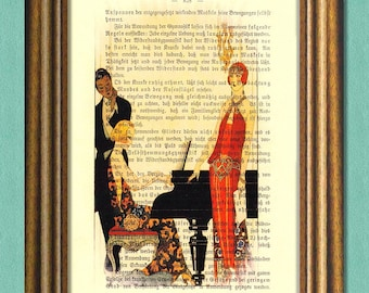 A PLEASANT EVENING At Downton Abbey - Dictionary Art Print -Vintage book page print upcycled-