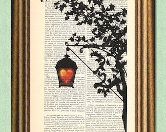 GLOWING HEART  - Dictionary Art Print - Antique Book Page Upcycled - Digital Art