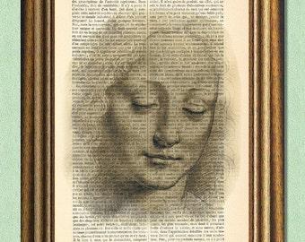 DA VINCI LADY - Dictionary Art - Wall Art - Printed Antique Book Page -