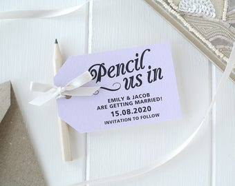 Pencil Us In! - Lavender Save The Date Cards