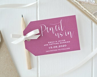 Pencil Us In! - Berry Save The Date Cards