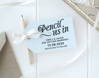 Pencil Us In! - Duck Egg Blue Save The Date Cards