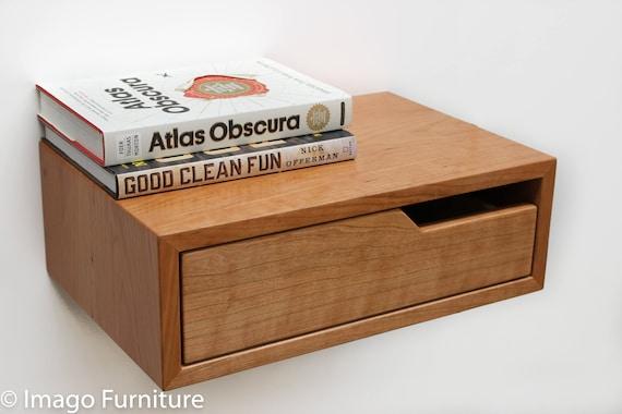 Floating Nightstand Bedside Table Cherry Hardwood Etsy