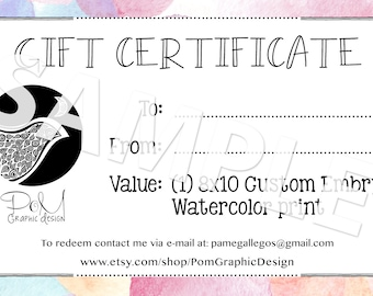 Embryo Watercolor Gift Certificate in 8x10 or 11 x 14 Poster