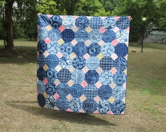 Made to Order Snow ball quilt using Oriental blue fabrics