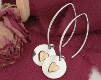 Handmade sterling silver #drop earrings #dangle earrings #heart earrings  #mixedmetal earrings #handmade earrings #northernireland