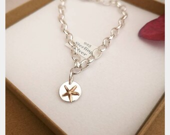 Handmade sterling silver belcher charm bracelet #starfish #goldfilled #beach jewellery #twotone #mixedmetal #personalised #northernireland