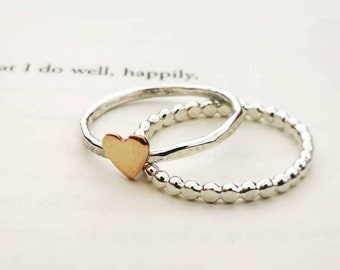 Handmade sterling silver stacking rings #heart ring #beaded ring #stackingrings #handmade jewellery #twotone jewellery #northernireland