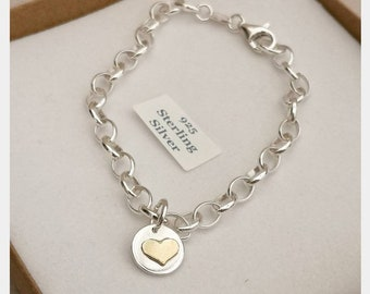 Handmade sterling silver belcher charm bracelet #heart #goldfilled #twotone #mixedmetal #heart charm #northernireland #personalised