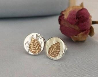 Handmade sterling silver and gold filled leaf stud earrings #nature earrings #leaf earrings #mixedmetal earrings #northernireland