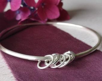 Handmade sterling silver bangle #plain silver #fiverings #charms #northernireland #silverbangle #minimalist #contemporary #jewellery