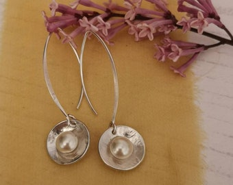 Handmade sterling silver drop earrings #buttonpearl #ivorypearl #dangle earrings #contemporary #minimalist #northernireland