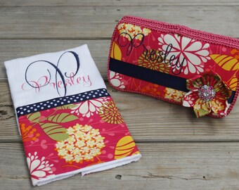 Hot Pink, Orange and Navy Flowered Boutique Wipe Case with Matching Monogram Premium Burp Cloth