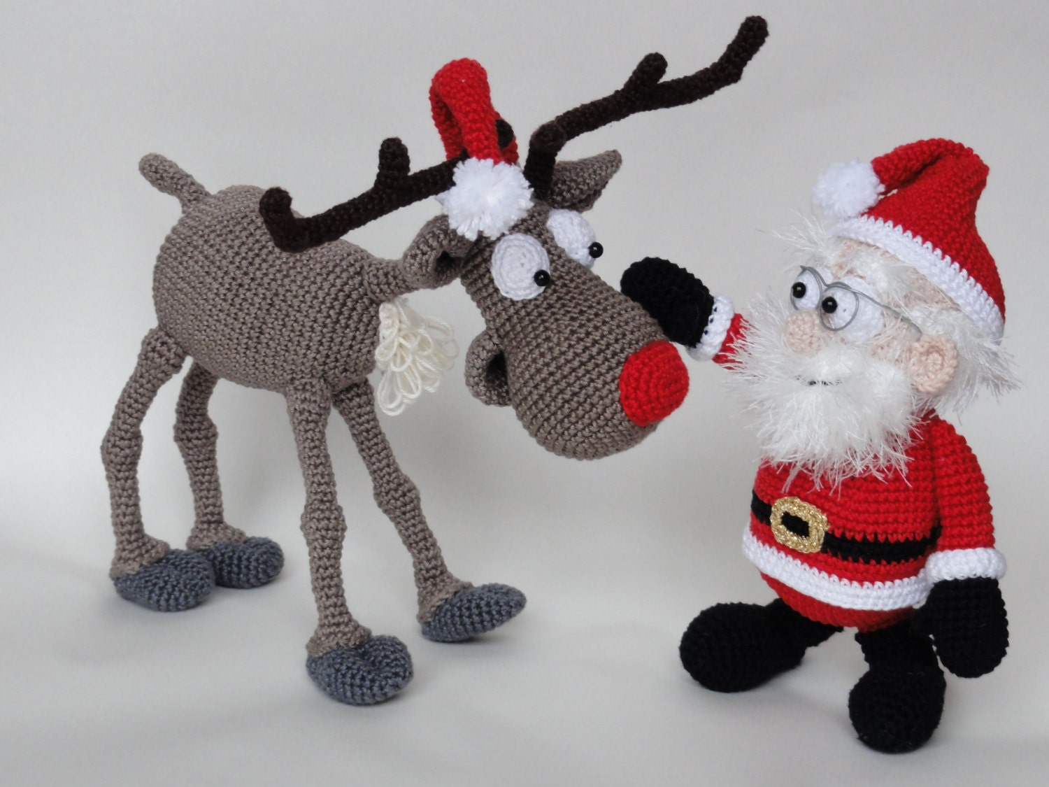 Amigurumi Crochet Pattern Set - Santa Claus and Rudolf the Reindeer ...