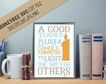 A Good Teacher Is Like A Candle svg Teacher gift svg Teacher svg Teacher appreciation svg Silhouette svg Cricut svg eps dxf Teach svg