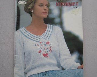 Patons Beehive 620 Supersoft DK - Women's Sweaters Tops Pullovers - Vintage Knitting Patterns Booklet 1989