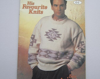 Patons Beehive 637 His Favourite Knits - Men's Classic Sweaters Pullovers  - Vintage Knitting Patterns Booklet 1989