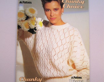 Patons Beehive 472 Chunky Choice - Sweaters Pullovers Tops Vests for Women & Men - Vintage Knitting Patterns Booklet 1985