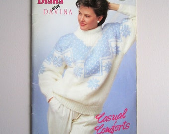 Patons Beehive 606 Casual Comforts - Women's Sweaters Pullovers - Vintage Knitting Patterns Booklet 1988