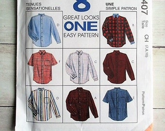 8407 UNCUT McCalls Sewing Pattern Boys Front Button Shirt Easy 8 Looks Casual FF