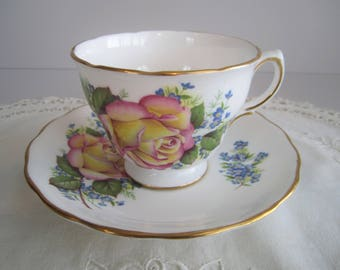 Royal Vale Tea Cup & Saucer - Yellow, Pink Roses - Tea Party -  Fine Bone China England