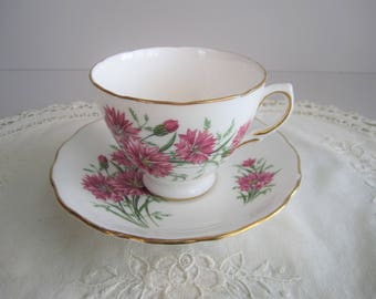 Royal Vale Tea Cup & Saucer -Pink Flowers Floral - Tea Party -  Fine Bone China England