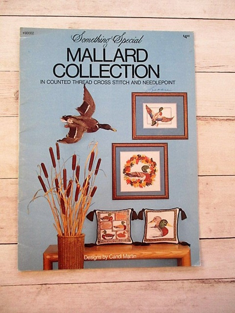 1981 Something Special #90002 Vintage Cross Stitch Pattern Mallard Collection in Counted Thread Cross Stitch /& Needlepoint