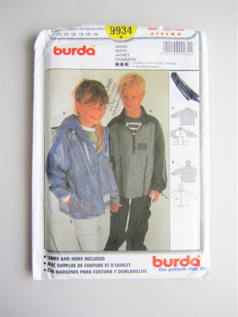 bcb919acdf7b Burda 9934 UNCUT Child s Girls  Boys  Jacket