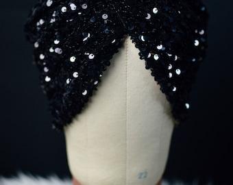 Black Sequin Twist Turban