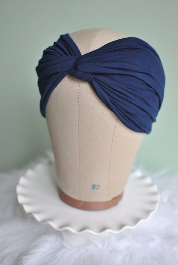 Navy Blue Twisted Knot Turban Headband  727dd288836