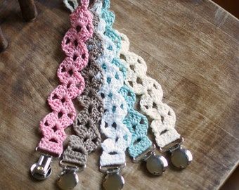 Crochet Pacifier Clip Girl. Binky Holder. Baby Shower Gift. Ready to Ship