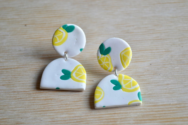 Polymer clay statement earrings Drop arch Pastel statement image 0