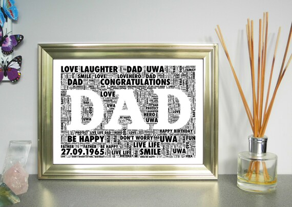 dad or mum personalised word art free uk p p father etsy