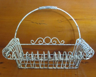 """Antique Old Florida Wrought Iron Flower Basket - Natural Patina with Sturdy Weight - 13.5"""" Long x 9"""" Wide x 9.5"""" Deep"""