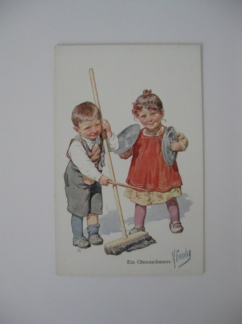 K Feiertag - Artist Signed Post Card - Boy and Girl Play Music - 1912 -  Unused