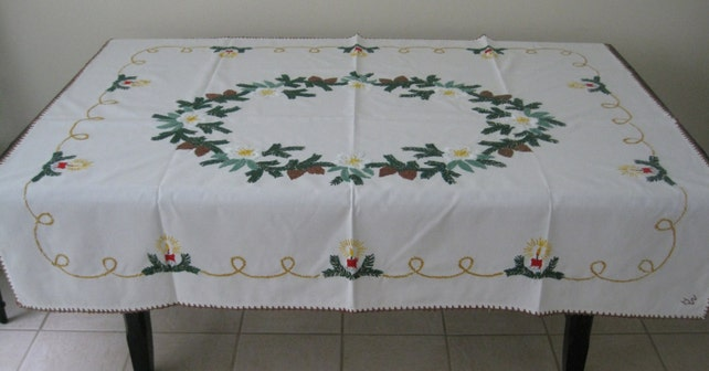 Vintage Hand Embroidered Christmas Tablecloth from Germany - Red Candles, Pine Swags, Pinecones, White Poinsettias - 45 x 58